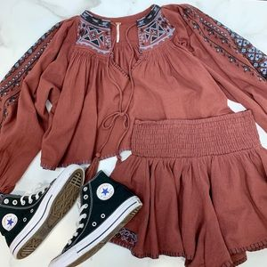 2 pc Free People embroidered set